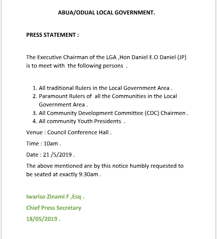 ABUA/ODUAL LOCAL GOVERNMENT . Here is a government special announcement .