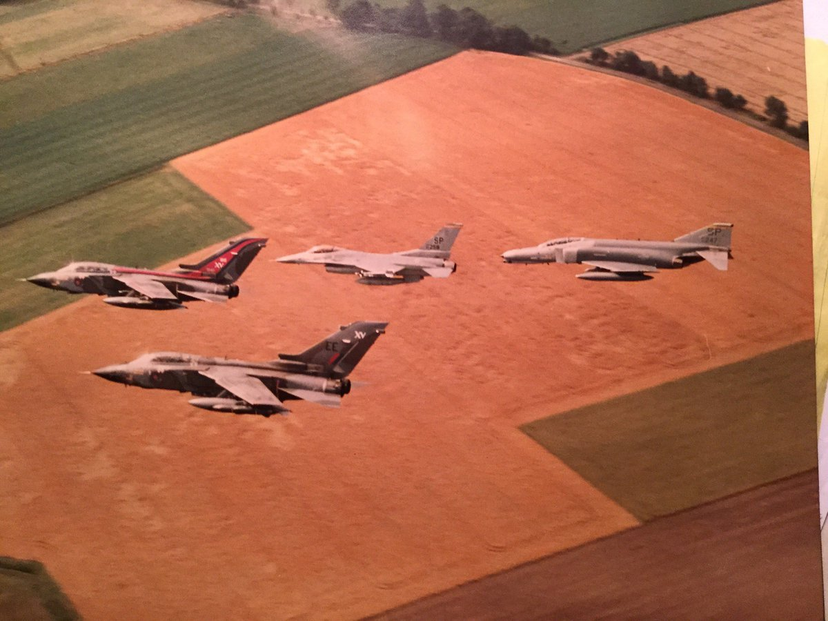 """Hey @JohnNicholRAF - I thought you might enjoy this. My friend """"Spike"""" Benyshek flew F-4Gs at Spangdahlem. He took this photo at a joint exercise with XV sqdn from RAF Laarbruch in Aug. 1990. Maybe you and John flying in one of those Tonkas. 😉👍Those were the days in Germany!"""