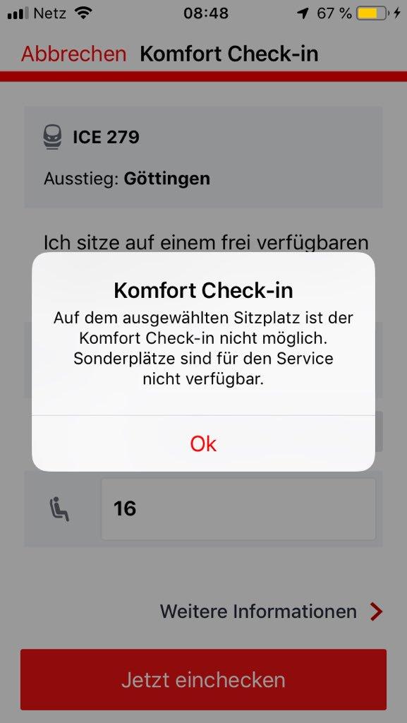 """Warum kann ich auf einem """"BahnComfort"""" Sitzplatz keinen Komfort Check-in machen? Das ist doch mumpitz. @DB_Bahn https://t.co/0jjlKhuML0"""