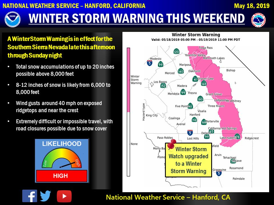 Another storm system will move into central California by late this afternoon, bringing heavy snow to the Sierra Nevada. A winter storm warning is in effect from 5 pm this afternoon through 11 pm Sunday.  Be prepared if heading into the Sierra Nevada this weekend.  #cawx<br>http://pic.twitter.com/V7Gfc7tHcz