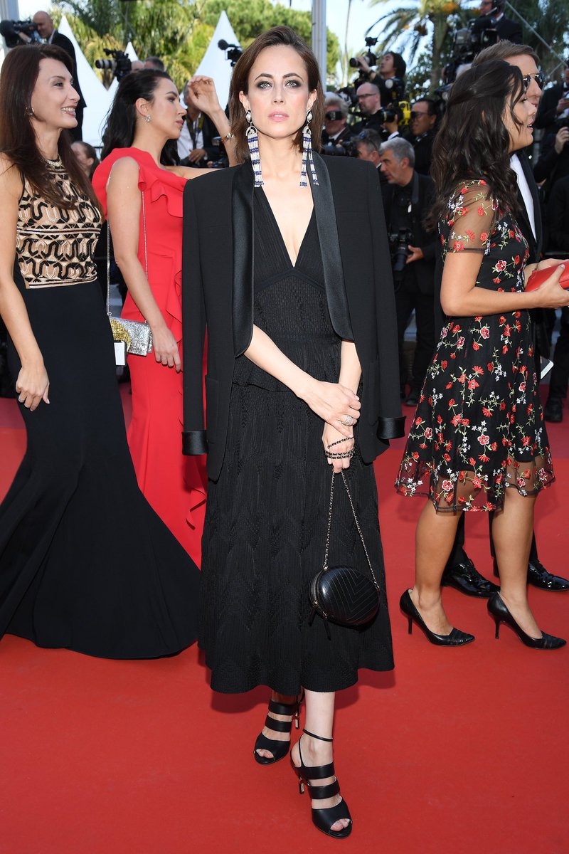 #CHANELinCannes — writer and friend of the House Anne Berest wore a dress from the #CHANELSpringSummer 2019 collection to the premiere of 'Rocketman'. More on http://chanel.com/-T_Cannes19 #Cannes2019 #CHANELinCinema