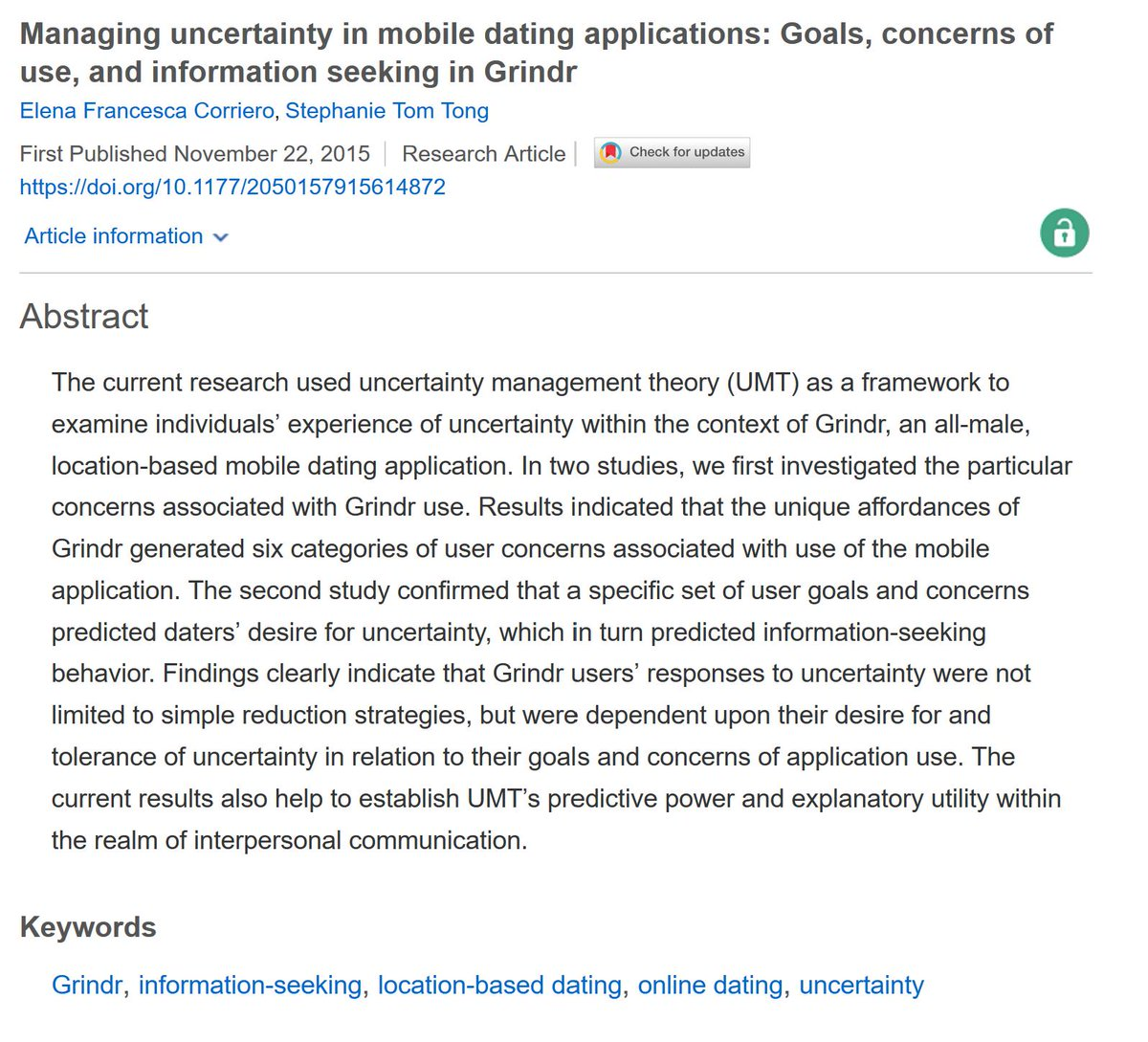 Ninth in our series highlighting female scholars in celebration of #IWD2019: @stomtong and E. Corriero&#39;s excellent paper &quot;Managing uncertainty in mobile dating applications&quot;. Now #OpenAccess.   https:// journals.sagepub.com/doi/full/10.11 77/2050157915614872 &nbsp; … <br>http://pic.twitter.com/LDhZ8z7Znz
