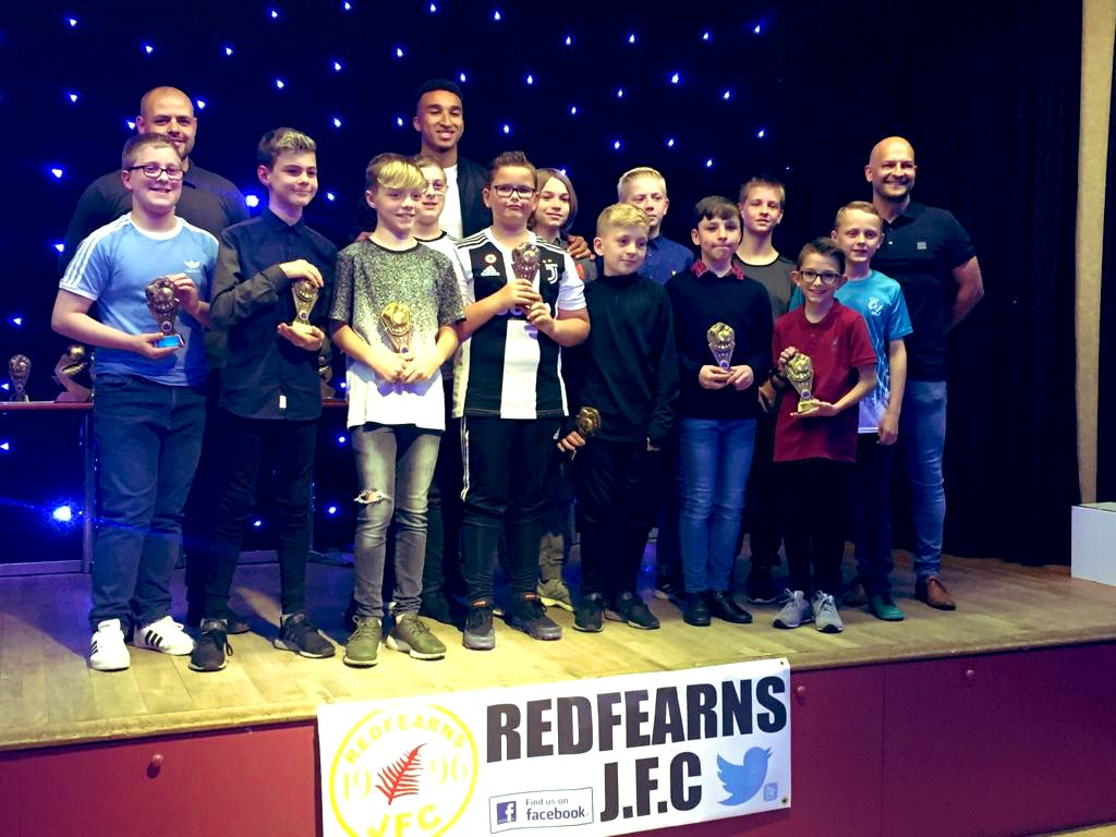 A touch of class from a professional footballer last night at @redfearnsjfc96 presentation evening. @jacob_browny8 thank you for giving all the kids something to remember 🏆Good luck next season 👍