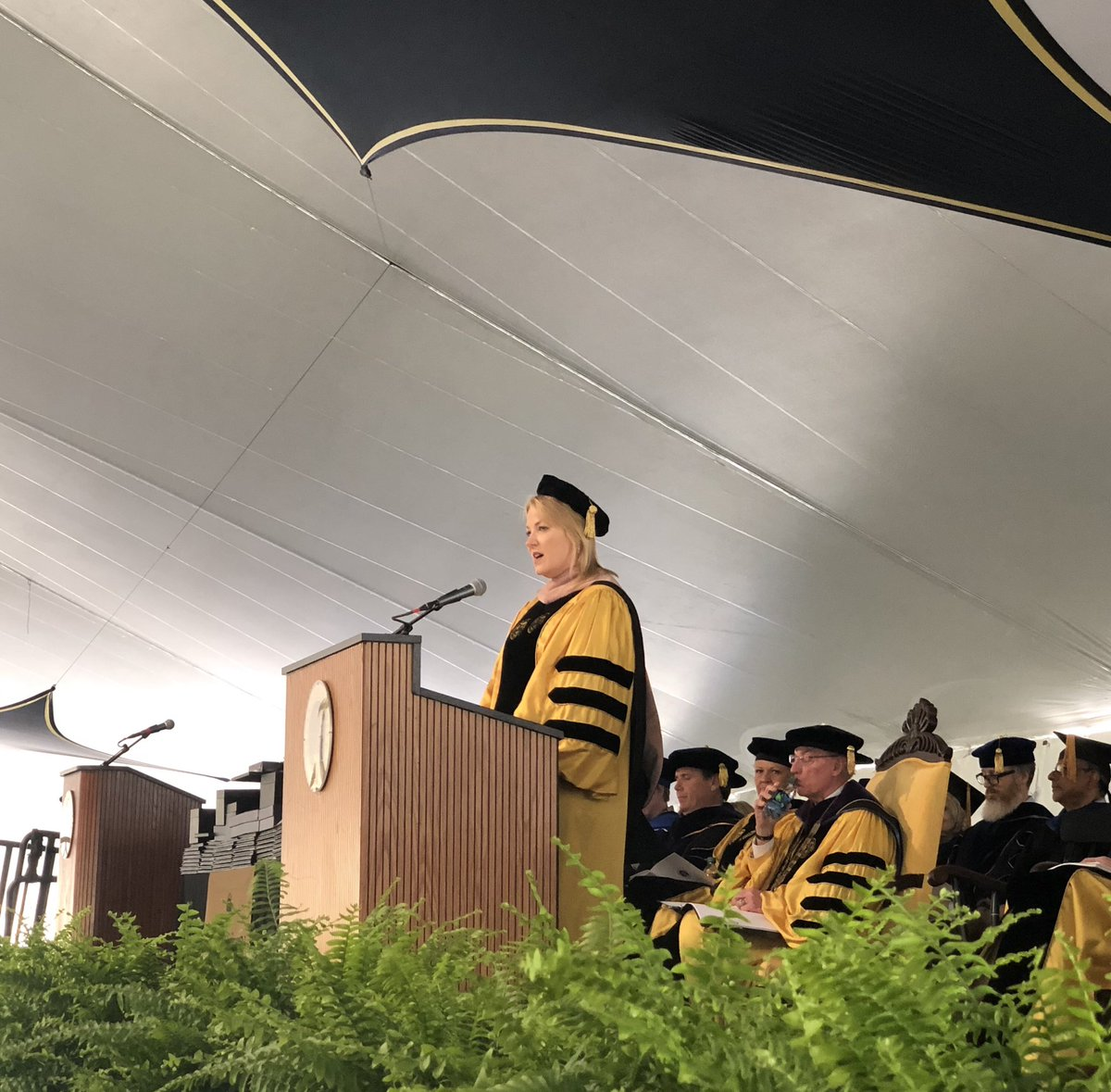 Honorary degree recipient and @EllucianInc CEO @IpsenLaura gives the commencement address at Bryant's Undergraduate Commencement.  #BryantGrad2019