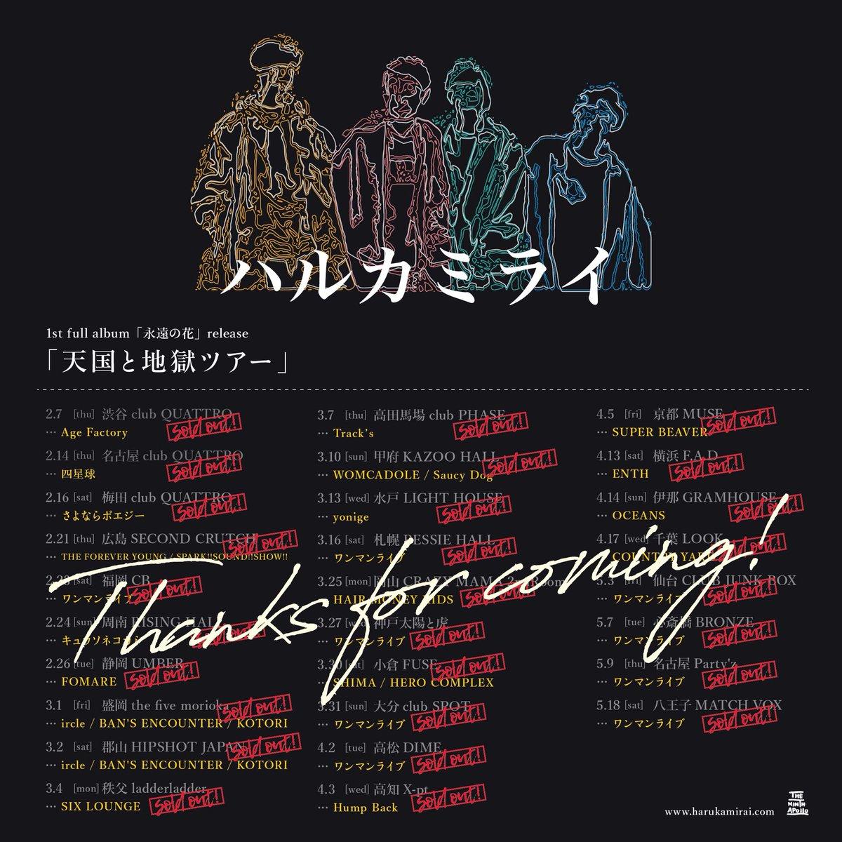 ハルカミライ「天国と地獄ツアー」これにて全公演終了!各地のみなさんありがとうございました!またライブハウスで元気に会いましょう!