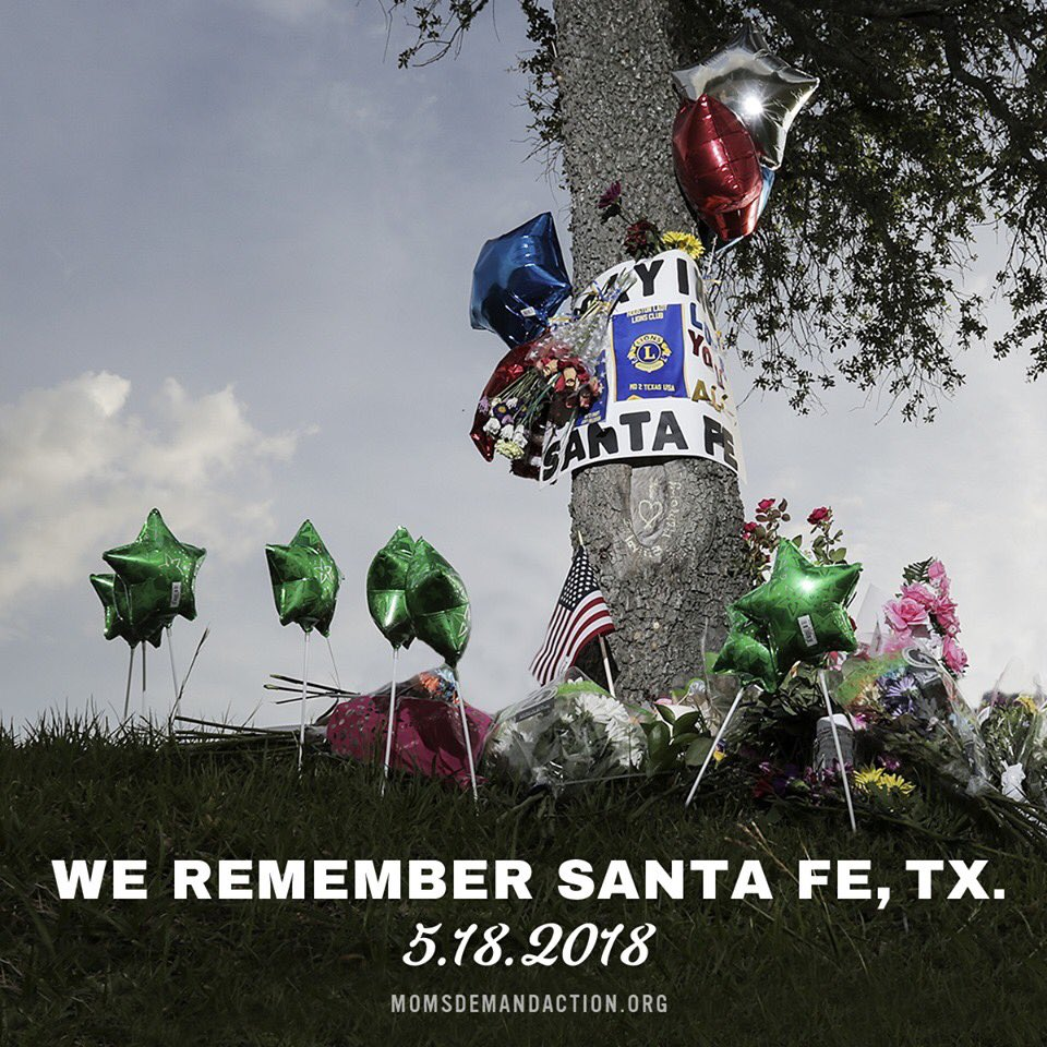 It has been a year since a gunman entered Santa Fe High School in Santa Fe, Texas, and opened fire. On this #SaturdayMorning I am holding all those devastated by this senseless tragedy in my heart and pledge to use my @MomsDemand volunteer work to #HonorWithAction.<br>http://pic.twitter.com/rx7gGcbYC9