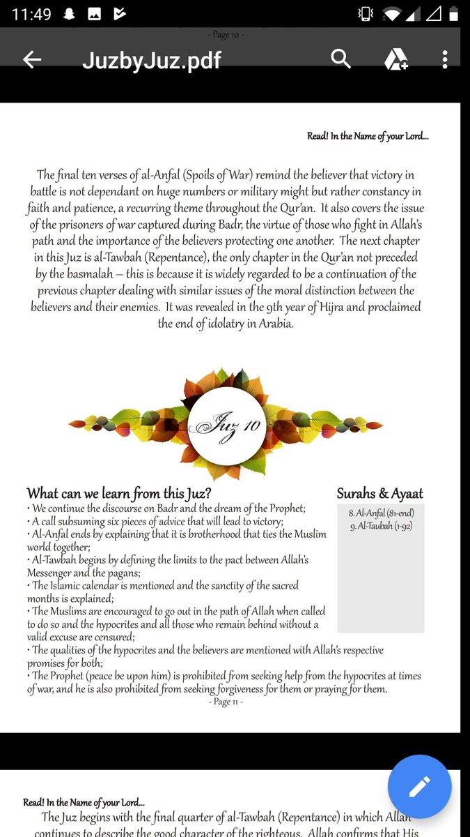 Juz 10 Summary - Ramadhan Day 10 #RT #follow #deen