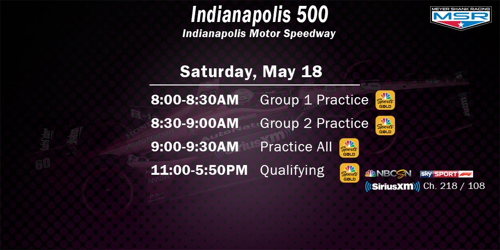 PR - Qualifying Day 1. We have a slightly different format from years past so be sure youre tuned in! 📺 NBCSN / Sky Sports F1 📻 @IndyCarRadio on SiriusXM Ch. 218 (11am-1pm) / Ch. 108 (4:30pm-6pm) 📲 NBCSN Gold App #ThisIsMay | #INDYCAR | @AutoNation | @SIRIUSXM