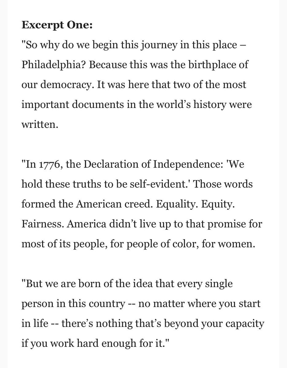 The Biden campaign releases two excerpts from Biden's speech, scheduled for delivery this afternoon in Philadelphia: