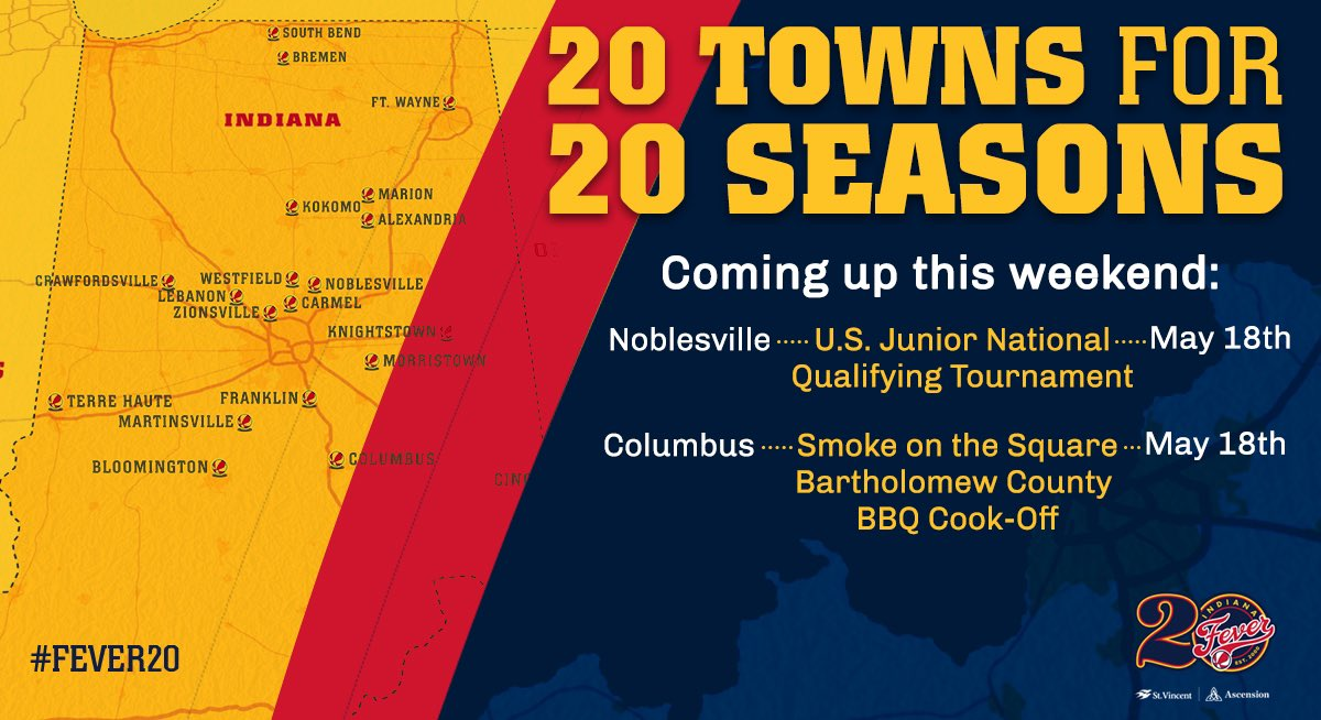 We have a big Saturday planned as we continue our 20 Towns for 20 Seasons tour! See you there!  Details 👉 http://on.nba.com/2U4Ek5G  #Fever20  | #AllForLove