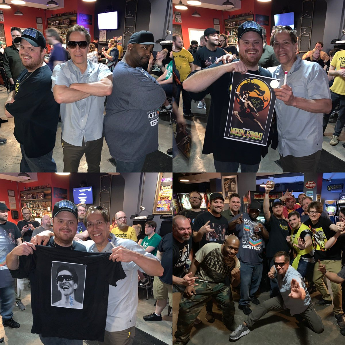 Some of last nights shenanigans thx to everyone @LegacyArcade what an awesomely fun time #johnnycageisnotafraidtodie