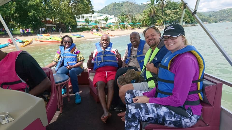 After exploring #Nyungwe National Park and driving on the #Kivu belt along the lake, today the #DiploExcursion2019 was in @RubavuDistrict for kayaking in the #Kivu Lake, cycling and touring the city.  #VisitRwanda @RDBrwanda