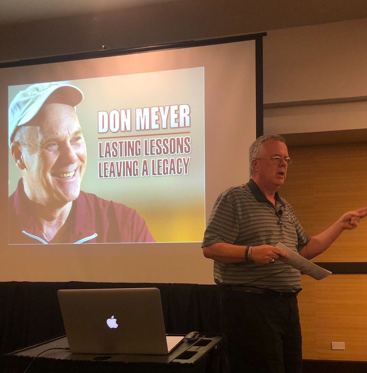 With today the anniversary of Coach Meyer's passing, I was blessed to speak on his teachings last night to a packed room at @tabchoops (thanks to my publicist @teamcoachbuzz). So many stayed around to share @CoachDonMeyer stories with me which made it that more special.<br>http://pic.twitter.com/RvWGjuOl6o