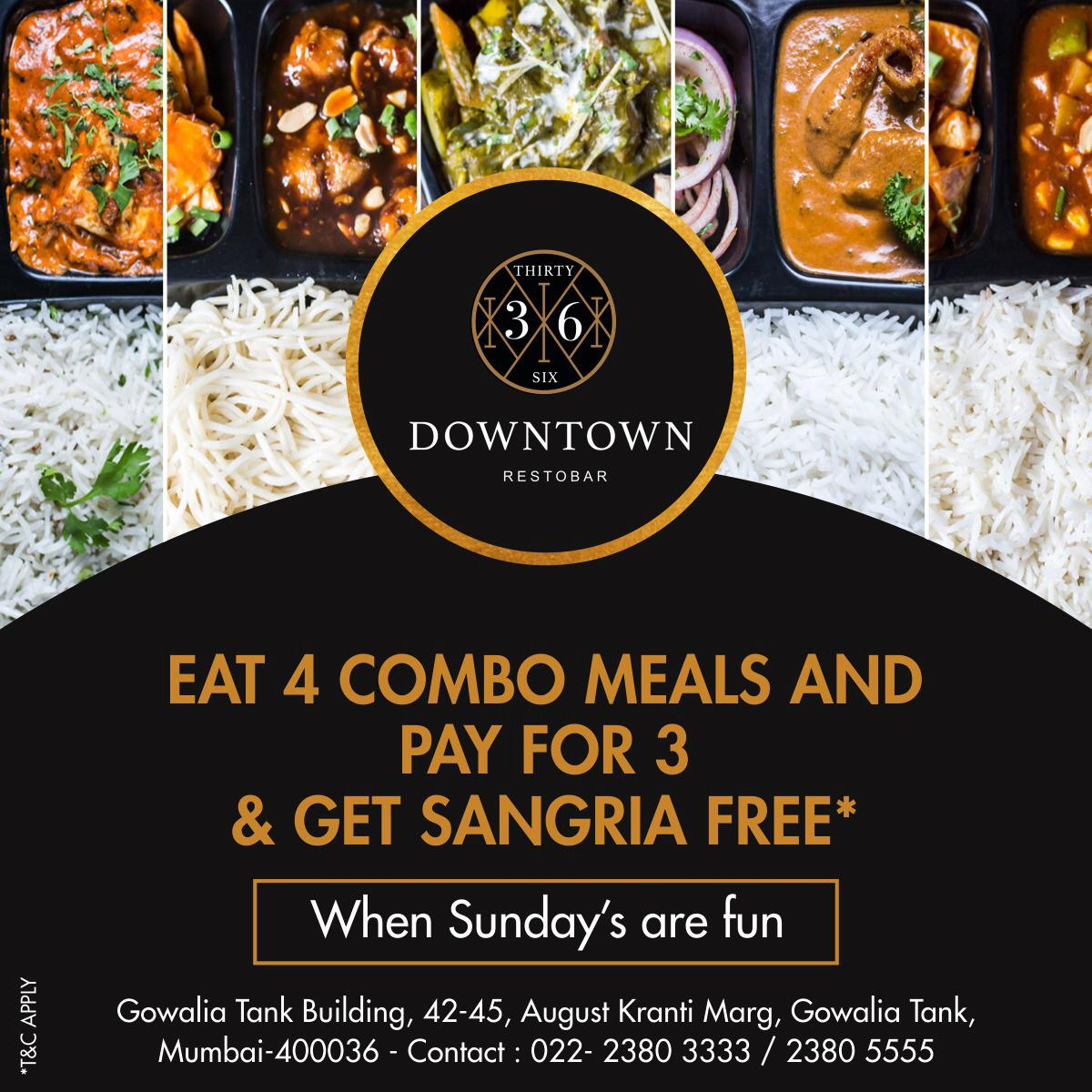On this exciting Sunday, we bring to you this exciting offer! Have four of our inviting meals and pay for only three of them and also have Sangria free. We promise to leave you licking your fingers. #36downtownrestobar #restobar #Livescreening #music #combomeals #Sangria #mumbai