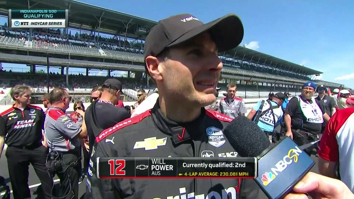 Happy the car is fast and that we have a shot at the pole. says @12WillPower after slating in second so far out at @IMS Watch the story unfold here: LINK: nbcsports.com/gold/indycar @IndyCar // @Team_Penske // #MustBeMay