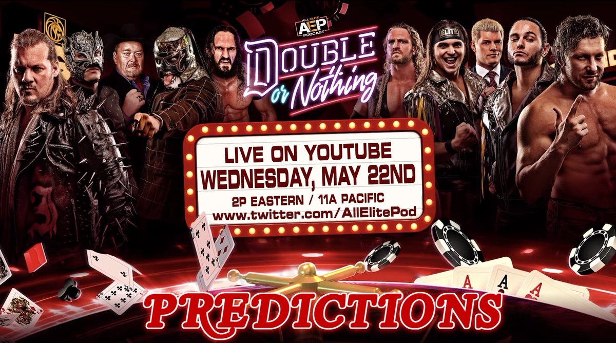 Announcement #1 - Our #DoubleOrNothing Prediction show will be LIVE next week on Wednesday on YouTube! 2pm/EST - 11am/PST! LIKE &amp; RETWEET!  We want some crazy fan predictions! Tweet us using #AskAEP and have them read on the show!  #AEW #AllEliteWrestling #AEWonTNT #AEWDON<br>http://pic.twitter.com/z9DQC3J4bz