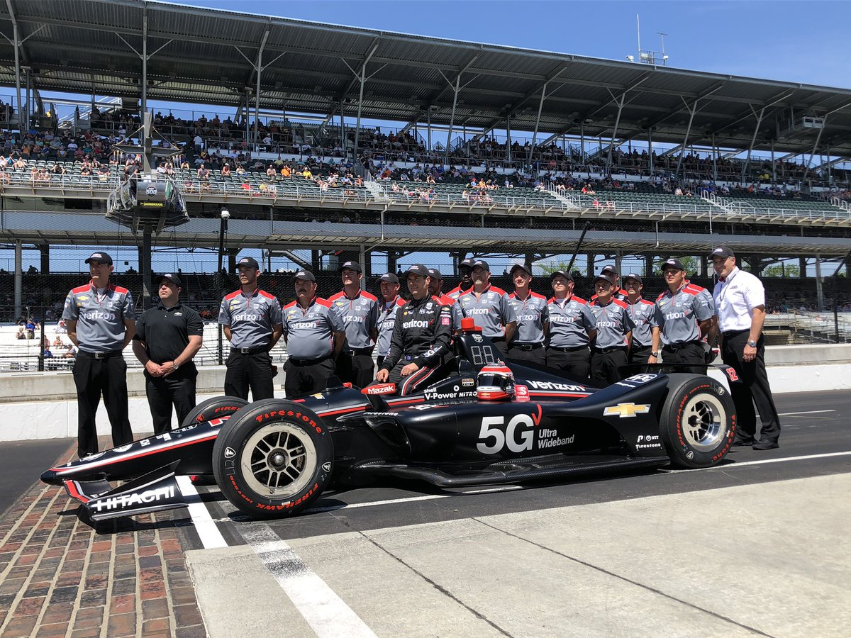 The annual team photo for the No. 12 @verizon 5G Chevrolet team on the Yard of the Bricks at @IMS. 😁📸 #INDYCAR | #ThisIsMay