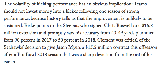 Great read from The Athletic's @benbbaldwin. This really stood out and it's amazing that every NFL team doesn't already know this. (I didn't know it because it's not obvious — but I also don't have hundreds of millions invested in winning football games.) https://theathletic.com/896789/2019/05/16/inside-the-nfl-analytics-dark-web/ …