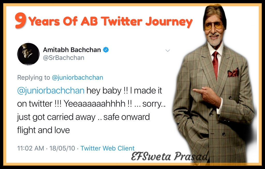 BADUMBAAA 9  years of twitter Shahenshah of Indian Cinema @SrBachchan sir Complete 9 Years on Twitter #9YearsABTwitter  Heartiest Congratulations sir for 9 Years of twitter journey, Thanku for being here❤ We love you forever❤   First tweet on 18/05/2010