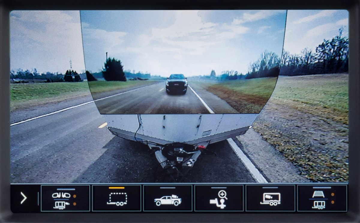 First up, is Enhanced ProGrade Trailering. Introduced on the 2020 #GMC #SierraHD, this available option features a segment-first transparent trailer view with 15 total available camera views and in-vehicle Trailering App enhancements.