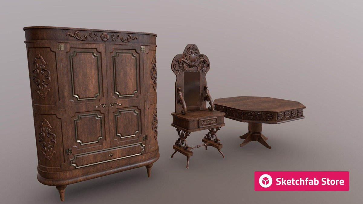 Store staff pick: Vintage Furniture Pack (+Kitbash Parts) by JustNK. Buy it now for your #3D, #AR, or #VR projects: bit.ly/2VrniQ4