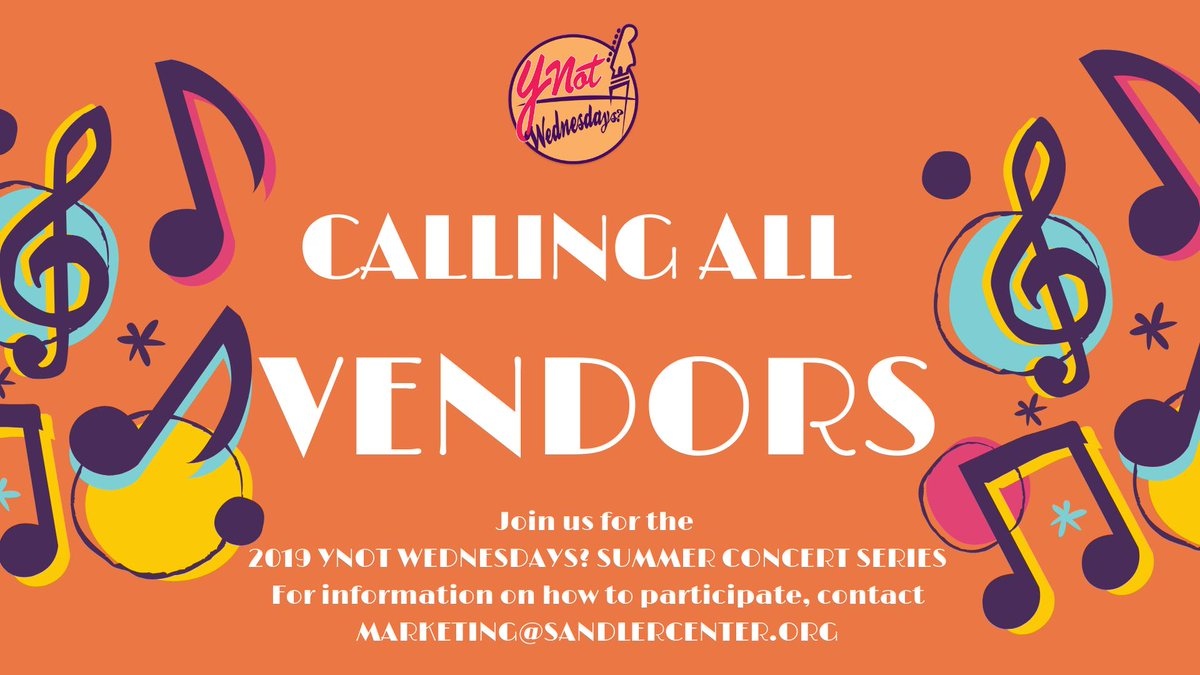 The Ynot Wednesdays? Free Summer Concert Series is less than 3️⃣ WEEKS away! And were looking for vendors of all varieties including crafts, pet supplies, clothing, etc. The weekly series runs June 5-August 28. For info about becoming a vendor, email marketing@sandlercenter.org.