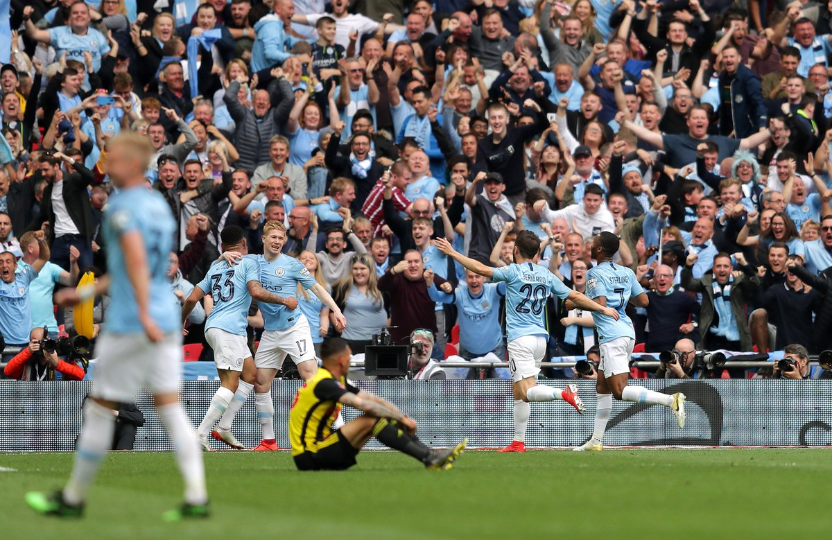 1 - Manchester City have become the first men's team to win the domestic treble in England, winning the Premier League, FA Cup and League Cup all in 2018-19. History. #MCIWAT #facupfinal