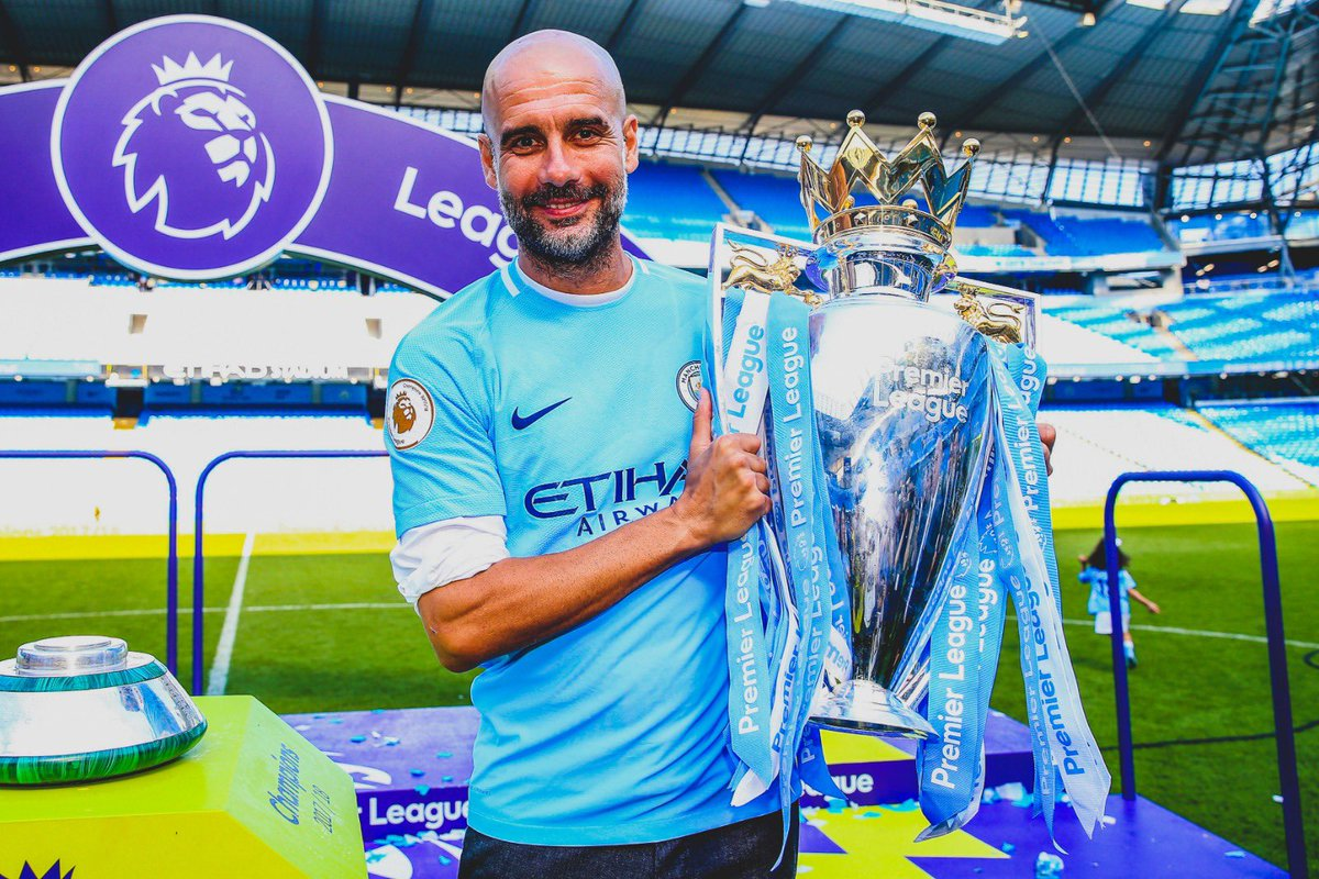 Pep Guardiola becomes the first manager to win all three domestic titles in England in a single season. Premier League League Cup FA Cup#FACupFinal