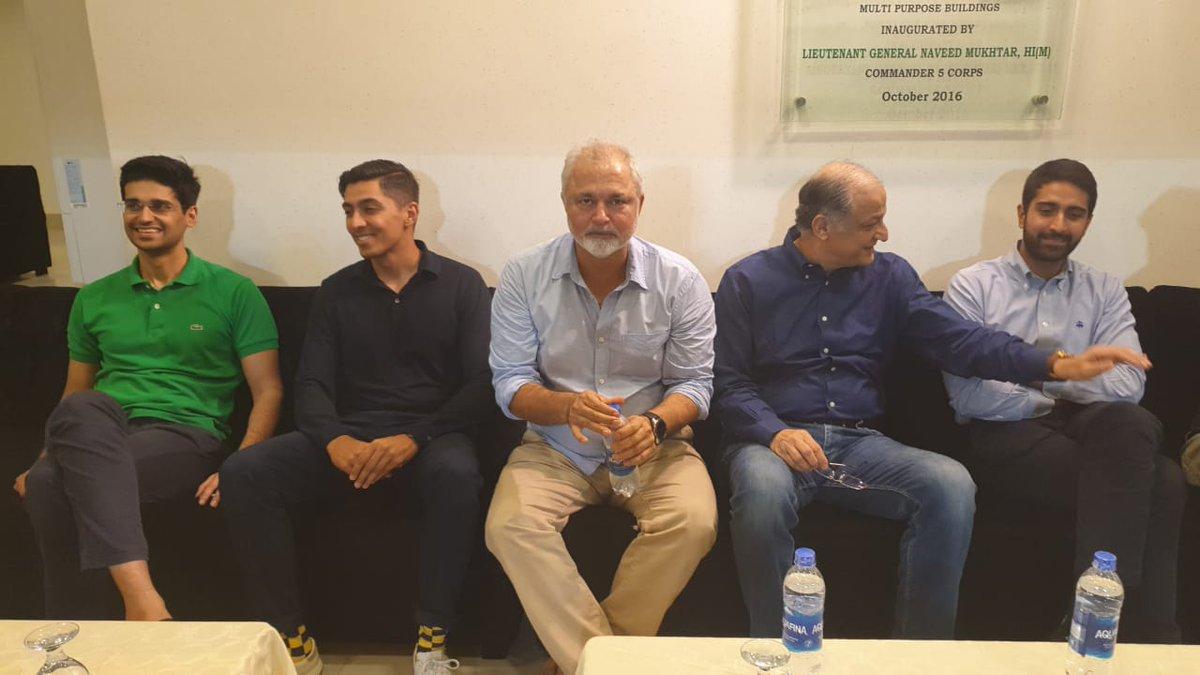 Owners @MultanSultans @aliktareen, @MalikAsser and owner @TeamQuetta @nadeem_omar57 sitting alongside Nadeem Khan to appreciate & support the 7th Corporate T20 Cup 2019.   Digital Media Partner: @SF360Digital  #OAvSSGC #KhanKaMaidaan #CorporateT20Cup https://t.co/O6qtRTeGCn