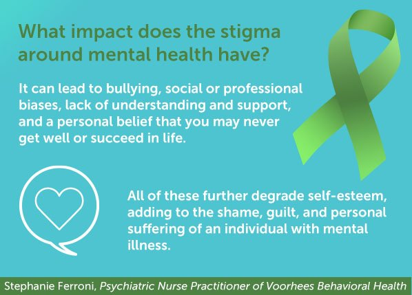 It's #MentalHealthMonth and we want to discuss the stigmas surrounding mental illness. Get the facts with Stephanie Ferroni, Psychiatric Nurse Practitioner, and share your opinions on mental health stigmas! #WeImproveLives