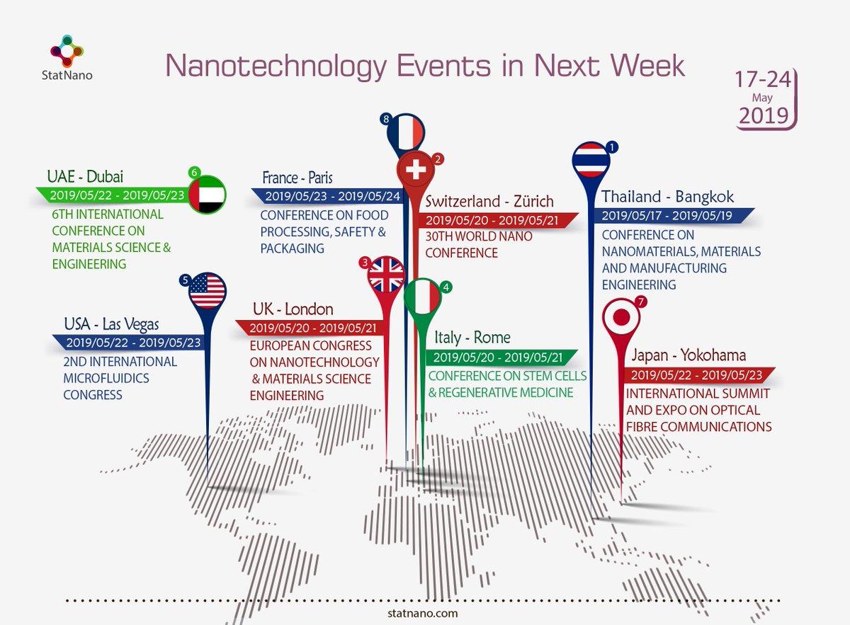Nanotechnology Events in Next Week   https://statnano.com/events  #UAE #Dubai #USA #Las_Vegas #France #Paris #UK #London #Switzerland #Zürich #Italy #Rome #Thailand #Bangkok #Japan #Yokohama #Statnano #nanotechnologypic.twitter.com/2lRAfBug99