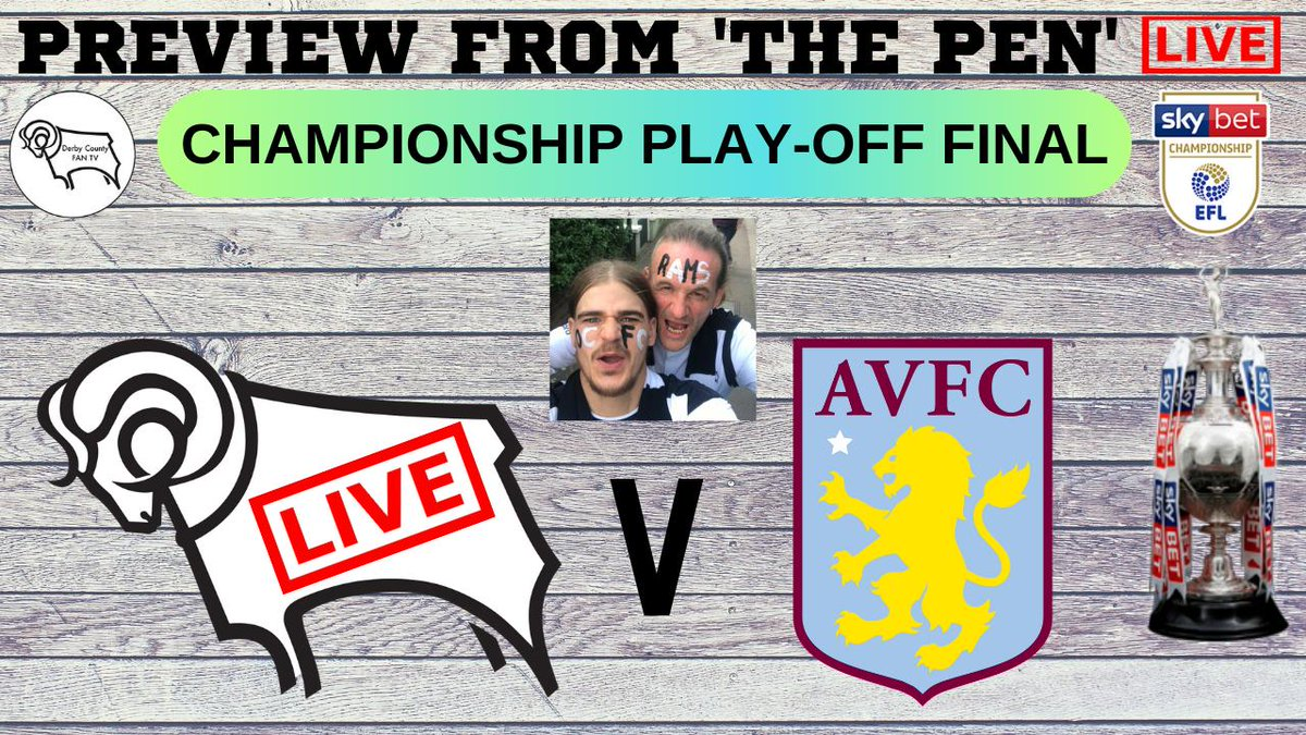 7.30PM - SATURDAY 25TH MAY 2019 - Join Pete, Ben & Guests as we build up to The EFL Championship Play-Off Final at Wembley Stadium. An evenings Chat, Debate, Q&A, Stats, Squad News, Guest Callers and anything else you want to ask! - RE-TWEET FOR A SHOUT-OUT! #dcfc #dcfcfans