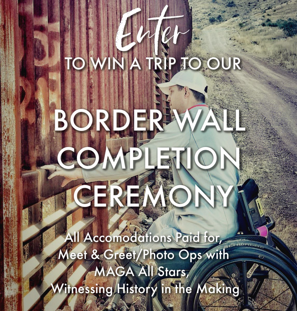 Win a trip for you and a guest to attend our wall reveal ceremony! Meet and greet with our MAGA All Star board of advisors and witness history made on completion of the first privately funded section of the border wall! ENTER HERE:  https:// wbtwcollections.com/raffle  &nbsp;  <br>http://pic.twitter.com/hsWWN4F4gN