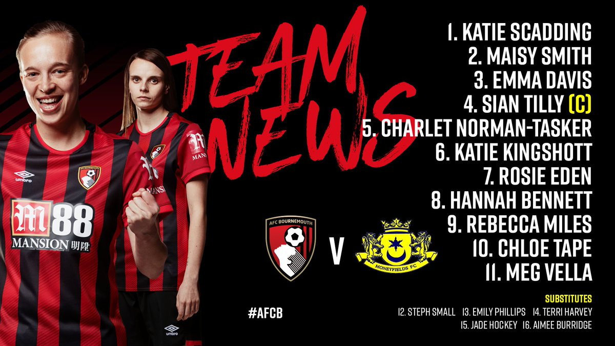 Its cup final day for our Women! 🏆 Heres how we line up against Moneyfields! Kick-off an hour away... ⏰ #afcb 🍒