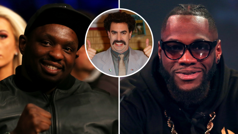 Deontay Wilder tried to pull-off an English accent and ended up sounding more like Borat than an Englishman 🤣 Dillian Whytes response: 😳👏 sportbible.com/boxing/news-fu…