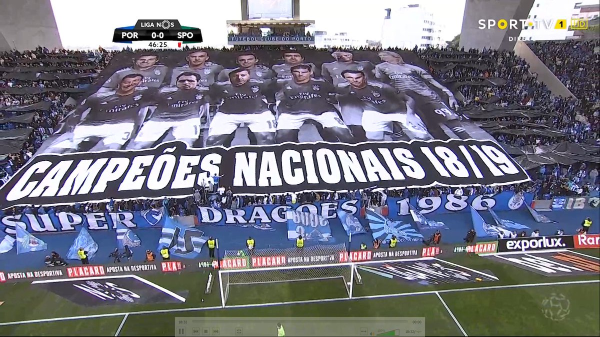 Super Dragoes tifo - faces of Benfica players replaced with league referees.