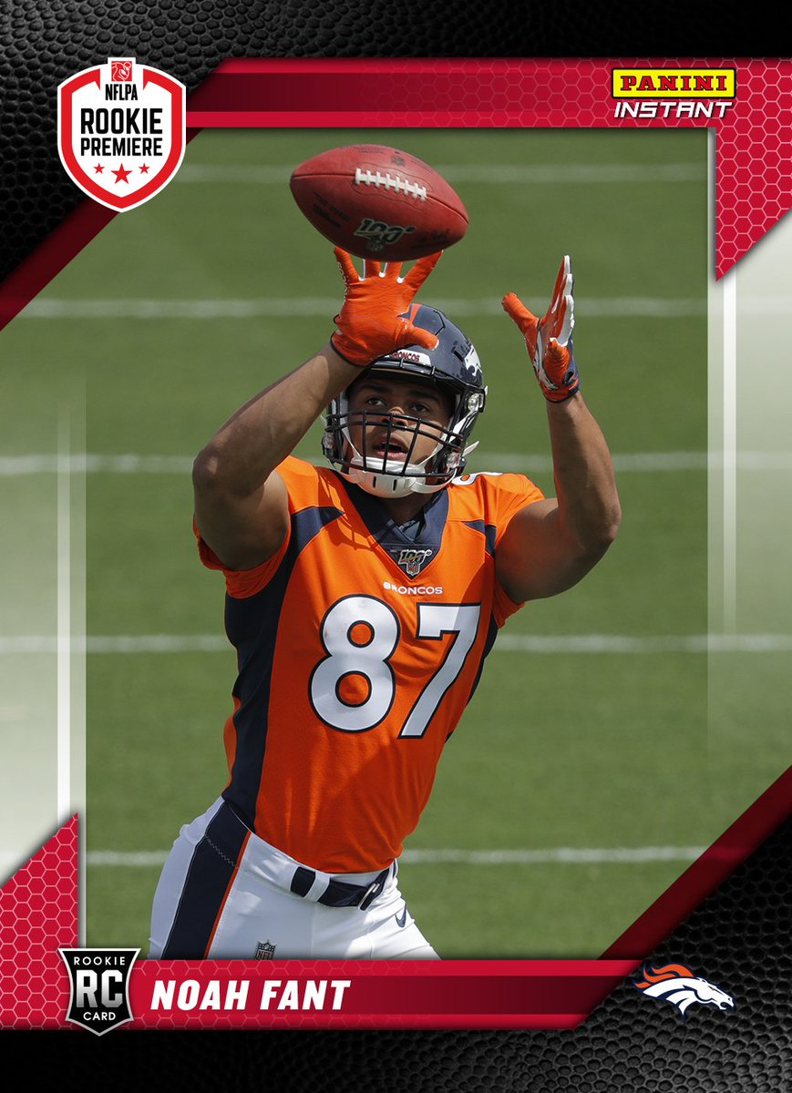 That 87 looks great in @Broncos colors 😍. Hyped to finally put on my #Broncos uni here at @NFLPA #RookiePremiere. Go check out my #PaniniInstant card here: https://qr.paniniamerica.net/2erev