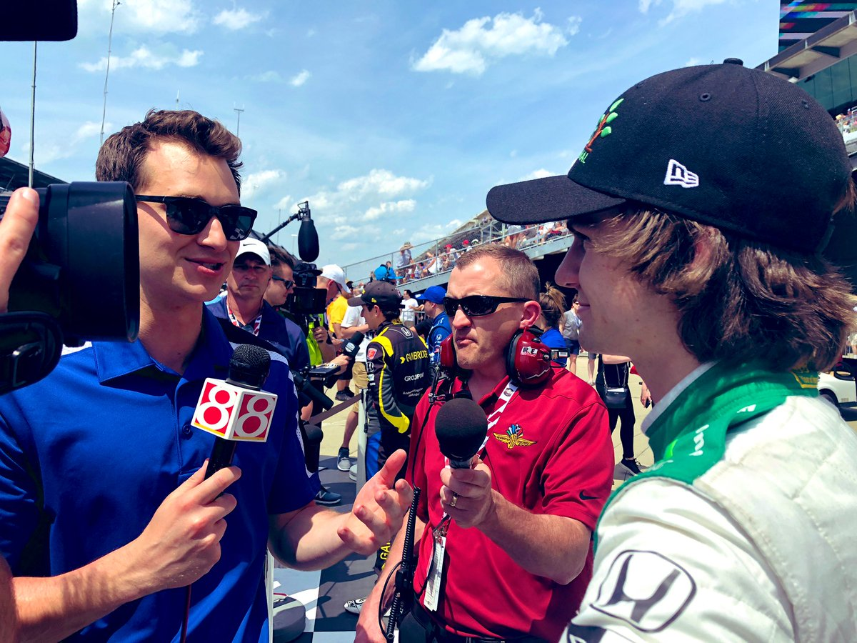 """Rookie Colton Herta jumps into the Fast Nine! How did he do it? """"Clenched my butt and held down the throttle!"""" @WISH_TV 💨 229.033 📍7th @IMS @FollowHSRacing"""