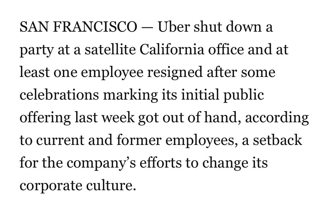 good god  what is it about *some* uber employees that they cant keep it together the moment booze enters the picture  youre rich! youve already won! have some tonic water ffs  https://www.washingtonpost.com/technology/2019/05/17/uber-rang-its-ipo-with-champagne-mimosas-then-hangover-began/?utm_term=.438bf60f509b…