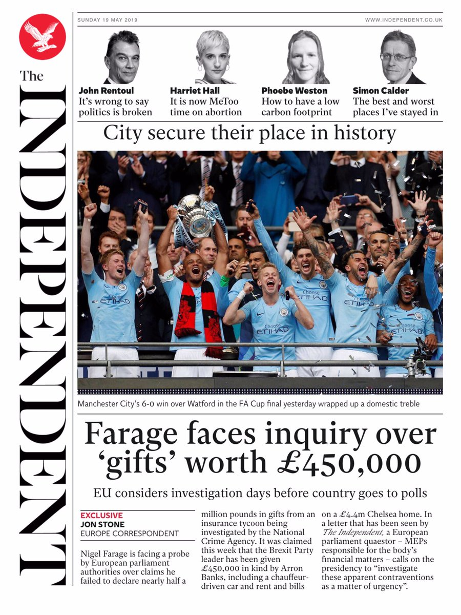 The Independent: Farage faces inquiry over  'gifts' worth £450,000 #TomorrowsPapersToday