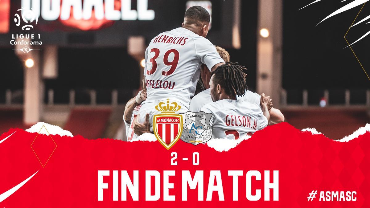 🔚 C'est terminé ! Les Rouge & Blanc s'imposent 2 à 0 face à Amiens 👏  ⚽️ Falcao (25') ⚽️ Golovin (83')  2⃣-0⃣ #ASMASC