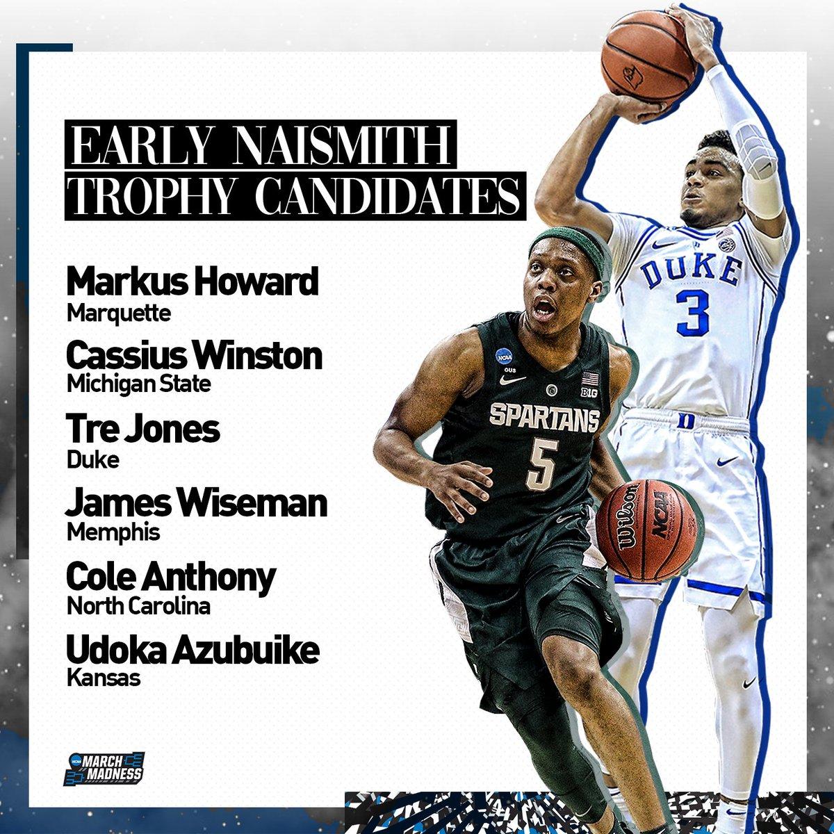 Early candidates for the 2020 Naismith Trophy:  Markus Howard Cassius Winston Tre Jones James Wiseman Cole Anthony Udoka Azubuike