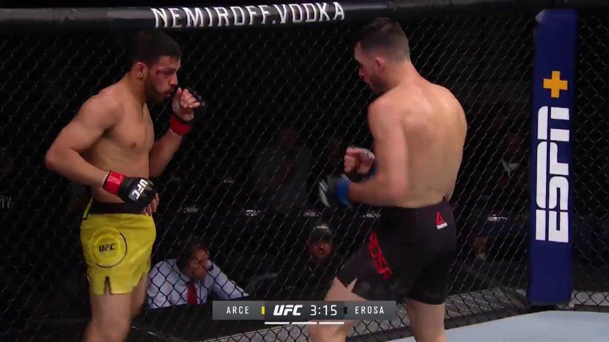 MY GOODNESS!  @JArcetsMMA goes upstairs with a MONSTER head kick!  ➡️ http://espnplus.com/ufc  #UFCRochester