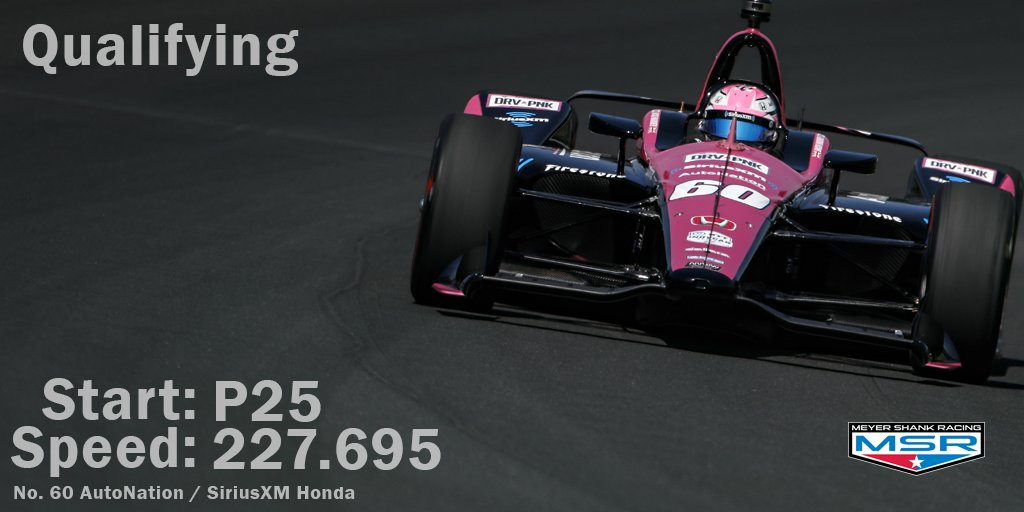 PR - That officially concludes Day 1 of Qualifying. We are locked into 25th for the 103rd running of the #Indy500. #ThisIsMay | #INDYCAR | @AutoNation | @SIRIUSXM