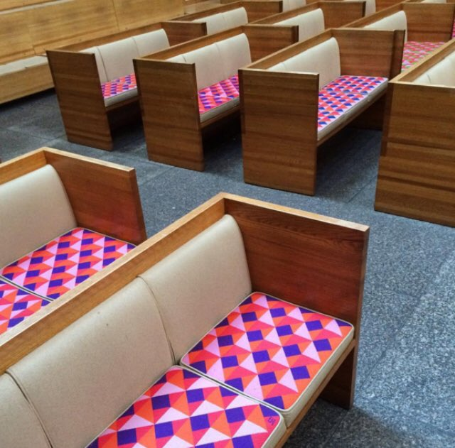 @mcmansionhell Dear Kate, so sorry to be late and best wishes to you and your mom. Here are the pews from the interior of St. Peter's Church designed by Massimo and Lela Vignelli, 1977