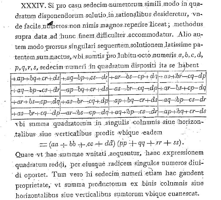 E407 -- Problema algebraicum ob affectiones prorsus singulares memorabile (1771) の4次元回転行列(1枚目)。4次元回転行列がこの形で書ける事は、wikiや論文から分かる(2枚目はこの論文より)。