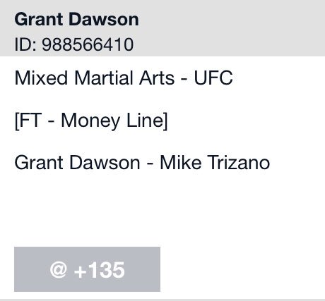 This is why you do your tape in advance. Hit +135 on Monday and the line closed at -160 today.  #UFCRochester