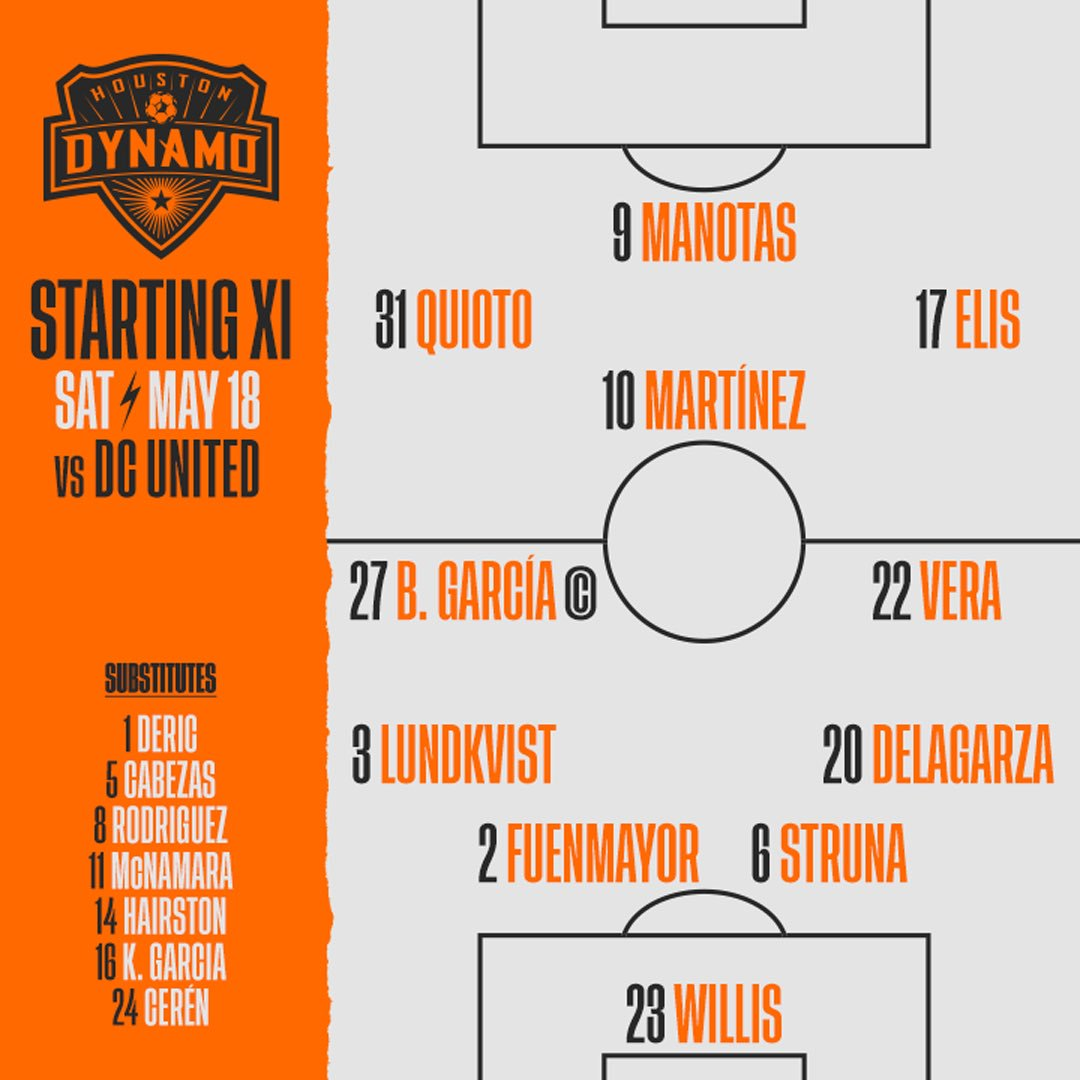 Your Dynamo lineup for #HOUvDC #ForeverOrange