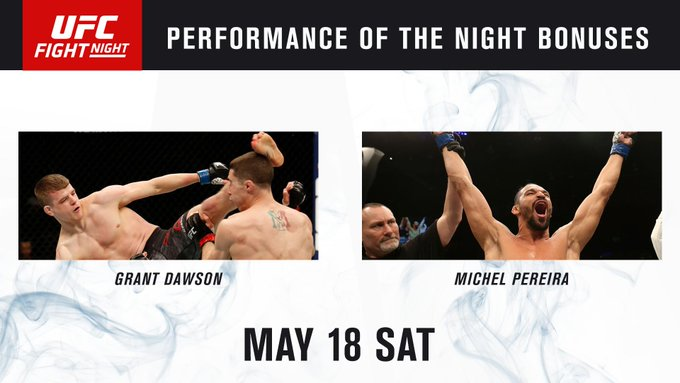 """SHOW ME THE MONEY!""  💰 POTN: Pereira & @DawsonGrant20y1  #UFCRoches"