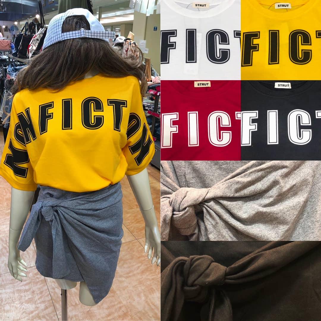ロゴTもスカートと合わせると ガーリーで今年っぽい\(^o^)/❤ パンツタイプの裏地付きなので アクティブスタイルにもオススメです😘👌💗  ロゴTシャツ ¥1,980+tax 前リボンスカート ¥2,450+tax